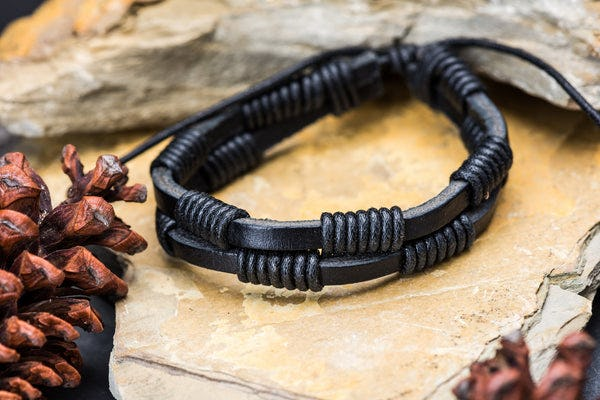 Fair Trade Hand Made Woven Leather Bracelet Double Wrap Black
