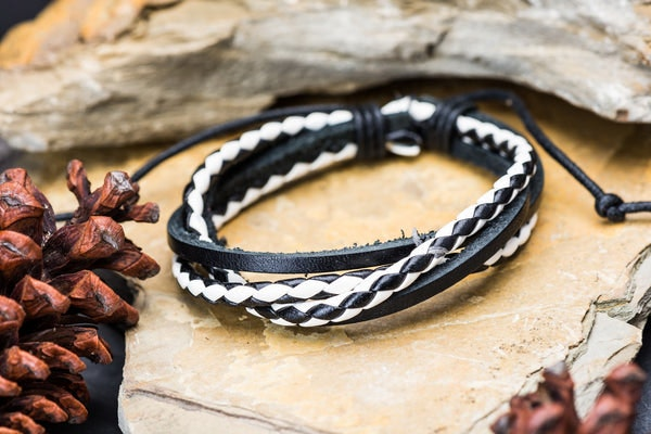 Fair Trade Hand Made Woven Leather Bracelet Braided Black And White