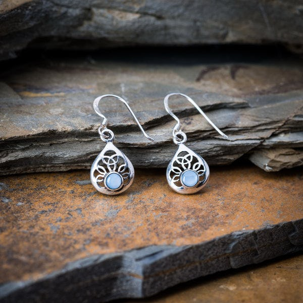 Thai Sterling Silver Heart with Stone Dangling Earrings