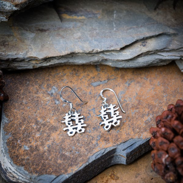 Thai Sterling Silver Dangle Earrings Happiness