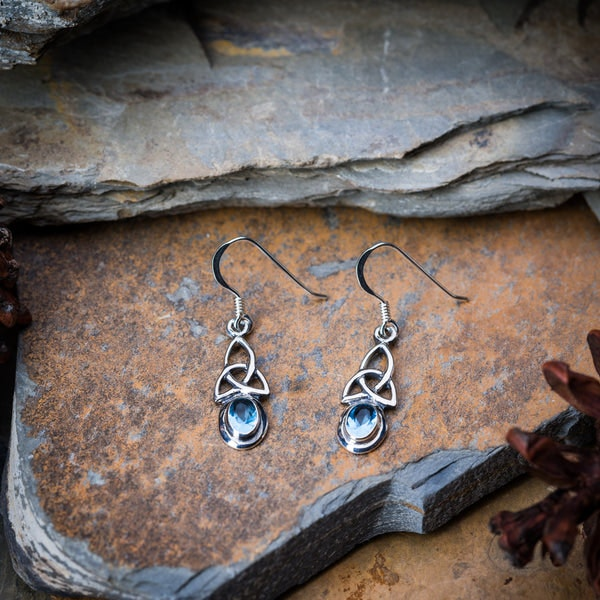 Thai Sterling Silver Celtic Triangle With Blue Glass Stone Dangling Earrings
