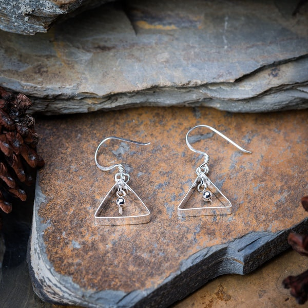 Sterling Silver Thai Earrings Triangle Drop