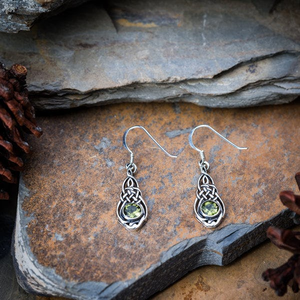 Thai Sterling Silver Earrings Celtic Fancy Peridot