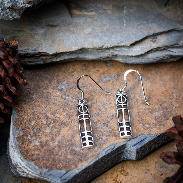 Thai Sterling Silver Earrings Celtic Long Cubism