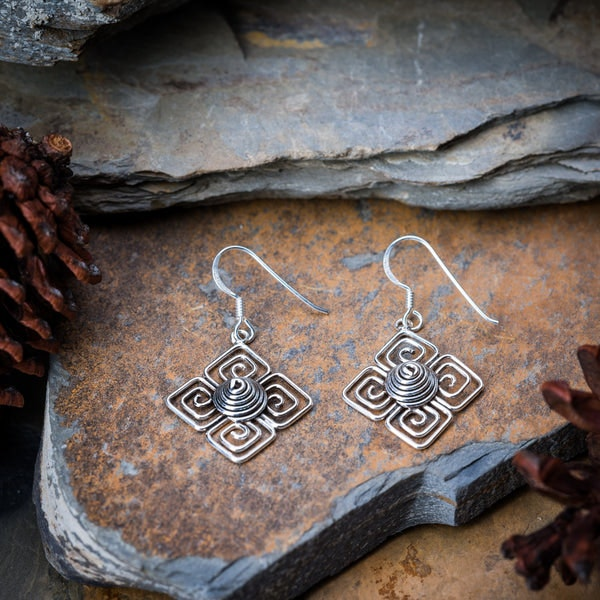 Sterling Silver Thai Earrings Square Spiral Burst