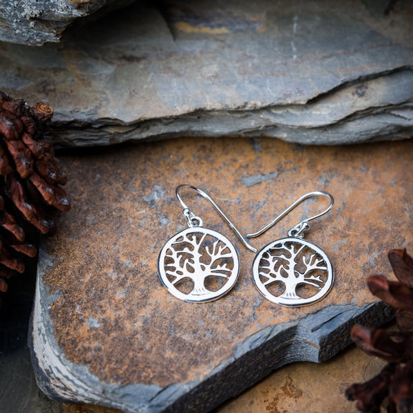 Thai Sterling Silver Earrings Tree Of Life Circle