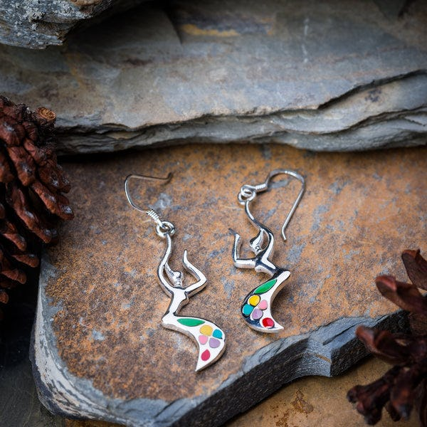 Thai Sterling Silver Earrings Rainbow Dancer