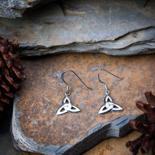Thai Sterling Silver Earrings Celtic Triangle