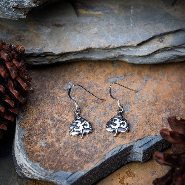 Thai Sterling Silver Earrings Bodhi Om