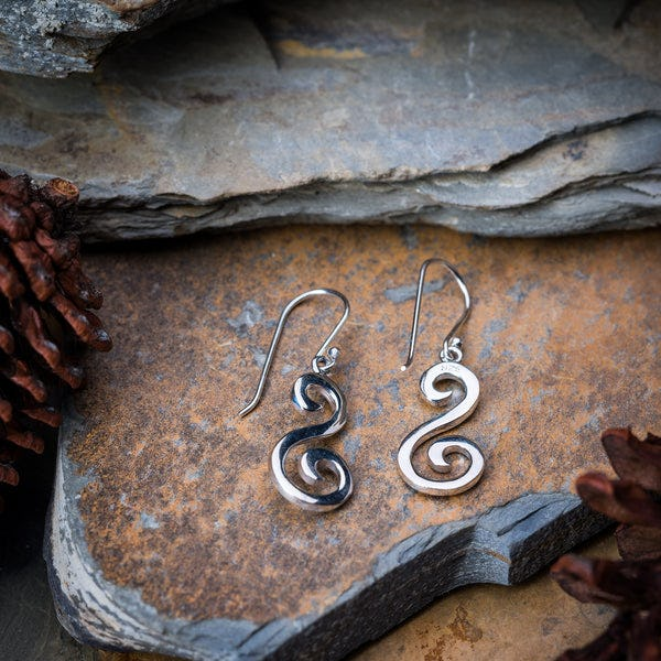 Thai Sterling Silver Dangle Earrings Swirling Drop