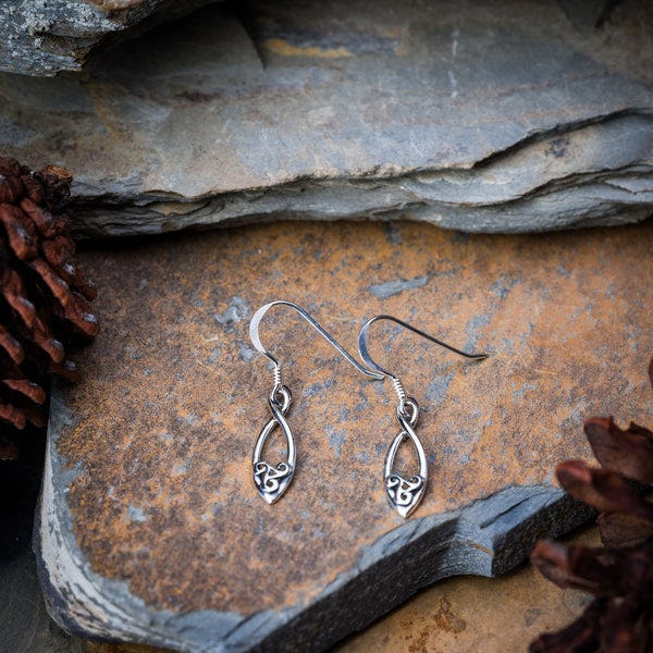 Thai Sterling Silver Dangle Earrings Infinity Drop