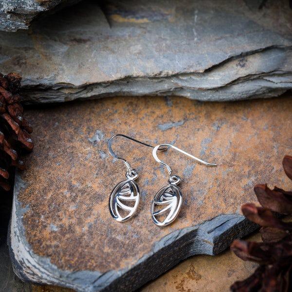 Thai Sterling Silver Earrings Circle Swirl