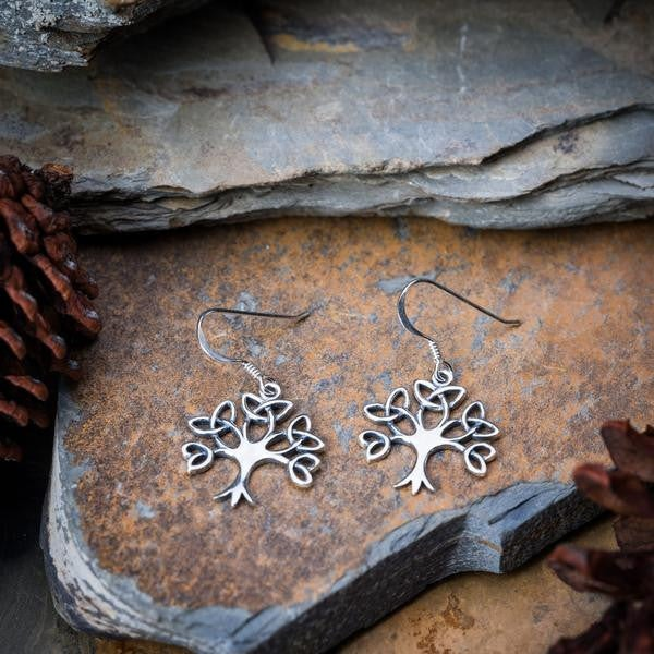 Sterling Silver Thai  Earrings Celtic Tree Of Life