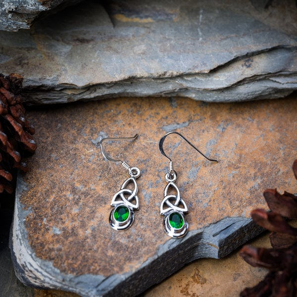 Thai Sterling Silver Celtic Triangle With Emerald Glass Stone Dangling Earrings