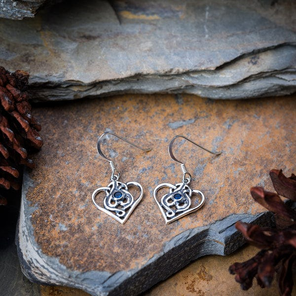 Thai Sterling Silver Dangle Earrings Hearts With Sapphire CZ