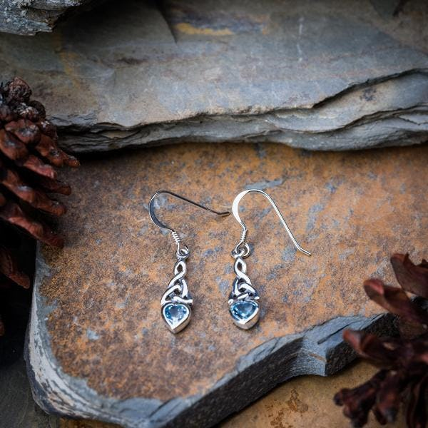 Sterling Silver Thai  Earrings Celtic Topaz