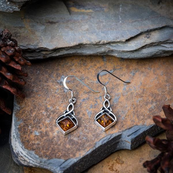 Sterling Silver Thai Earrings Celtic Amber