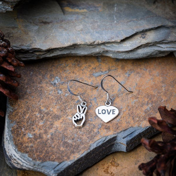 Sterling Silver Thai Earrings Love And Peace