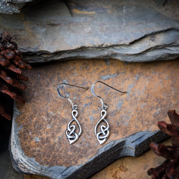 Thai Sterling Silver Celtic Round Drop Dangling Earrings