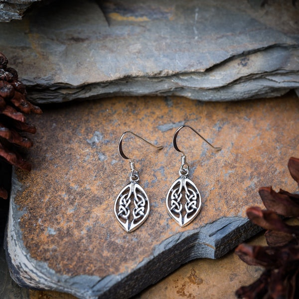 Thai Sterling Silver Dangle Earrings with Double Celtic Knots