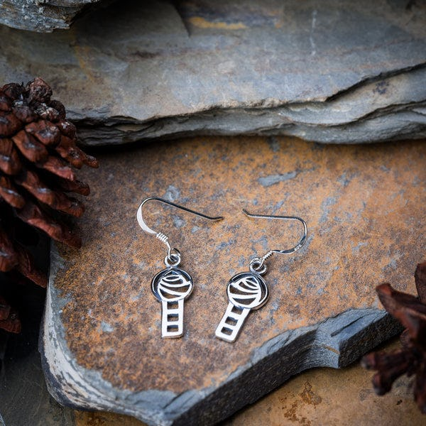 Thai Sterling Silver Earrings Celtic Knot Cube