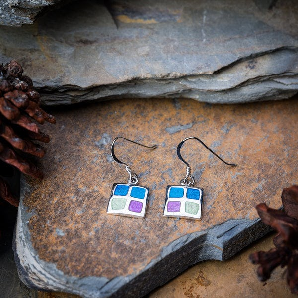Thai Sterling Silver Dangle Earrings Geometric Enamel