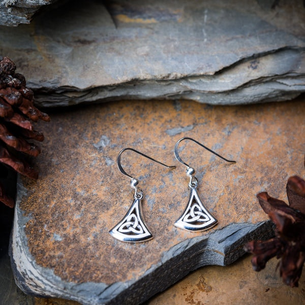 Thai Sterling Silver Dangle Earrings Trinity Drop