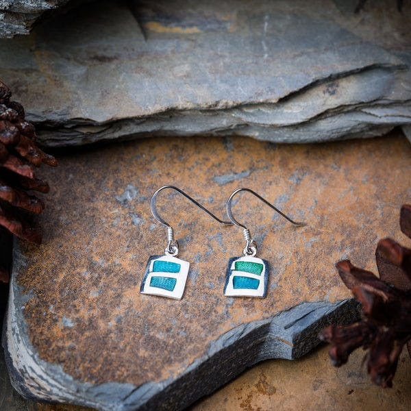 Thai Sterling Silver Earrings  Blue Square Enamel