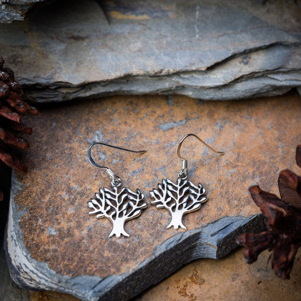 Thai Sterling Silver Earrings Classic Tree Of Life