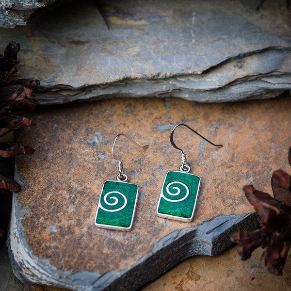 Sterling Silver Thai Earrings Green Enamel Swirl