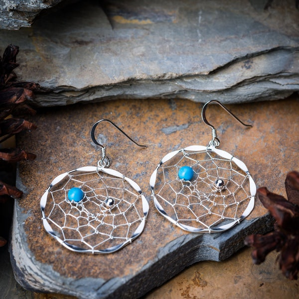 Thai Sterling Silver Dangle Earrings DreamCatcher with Turquoise