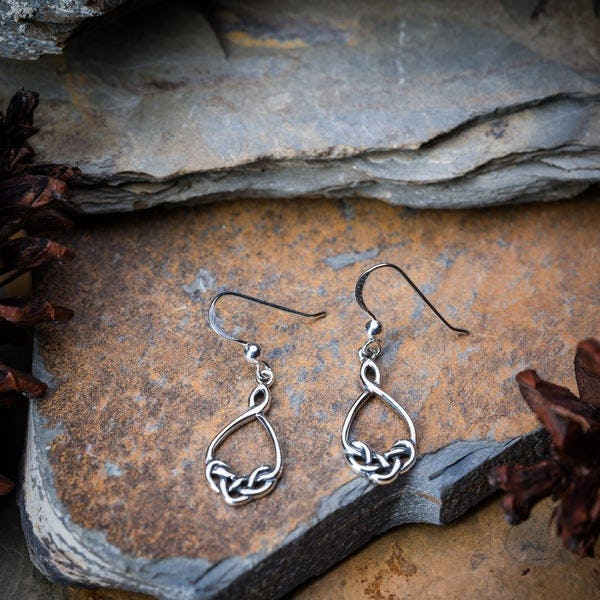 Thai Sterling Silver Celtic Drop Dangling Earrings