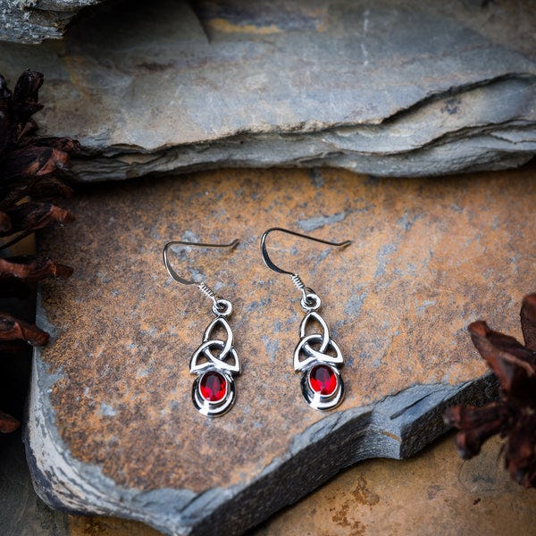 Thai Sterling Silver Celtic Triangle With Ruby Glass Stone Dangling Earrings