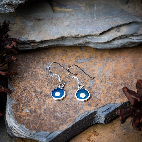 Thai Sterling Silver Earrings Blue Enamel Dot
