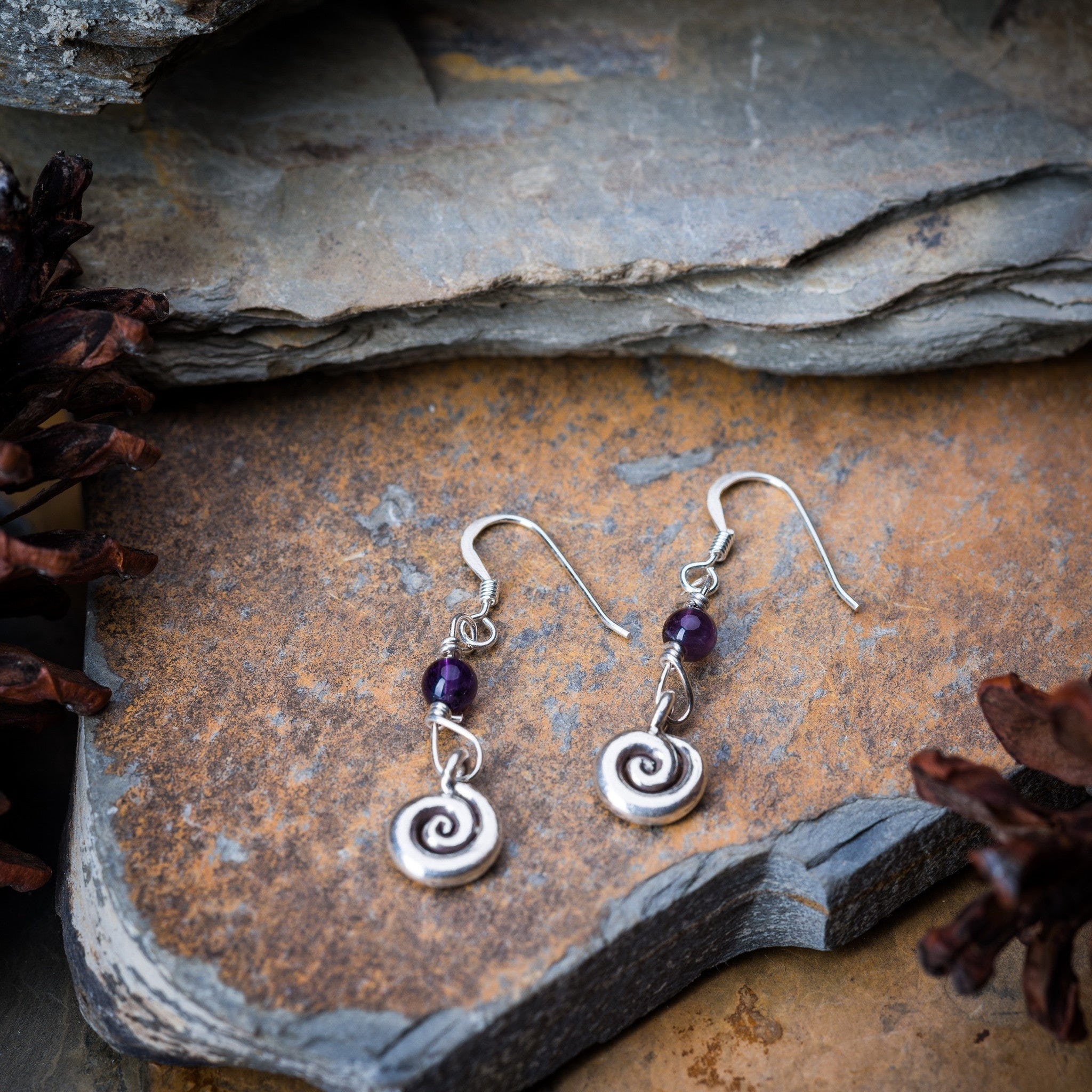 Thai Hand Made Hill Tribe Artisan Silver Earrings Swirl Amethyst Pants