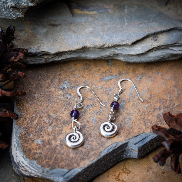 Thai Hand Made Hill Tribe Artisan Silver Earrings Swirl Amethyst