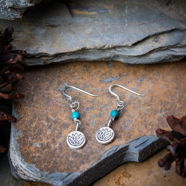 Thai Hand Made Hill Tribe Artisan Silver Earrings Lotus Jade
