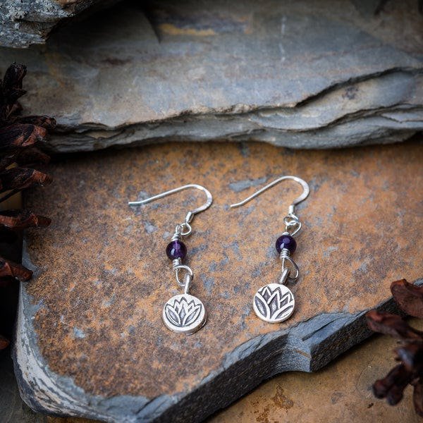 Thai Hand Made Hill Tribe Artisan Silver Earrings Lotus Amethyst