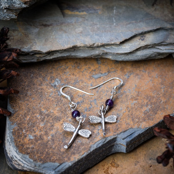 Thai Hand Made Hill Tribe Artisan Silver Earrings Dragonfly Amethyst