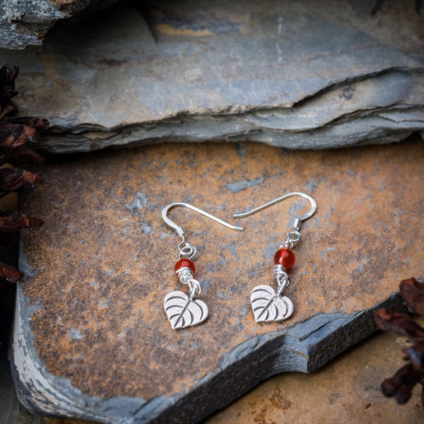 Thai Hand Made Hill Tribe Artisan Silver Earrings Hearts Ruby