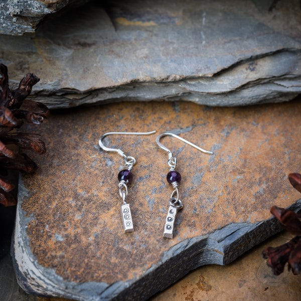 Thai Hand Made Hill Tribe Artisan Silver Earrings Bamboo Amethyst