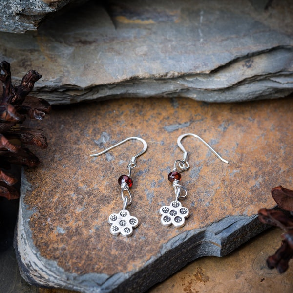 Thai Hand Made Hill Tribe Artisan Silver Earrings Flower Amber