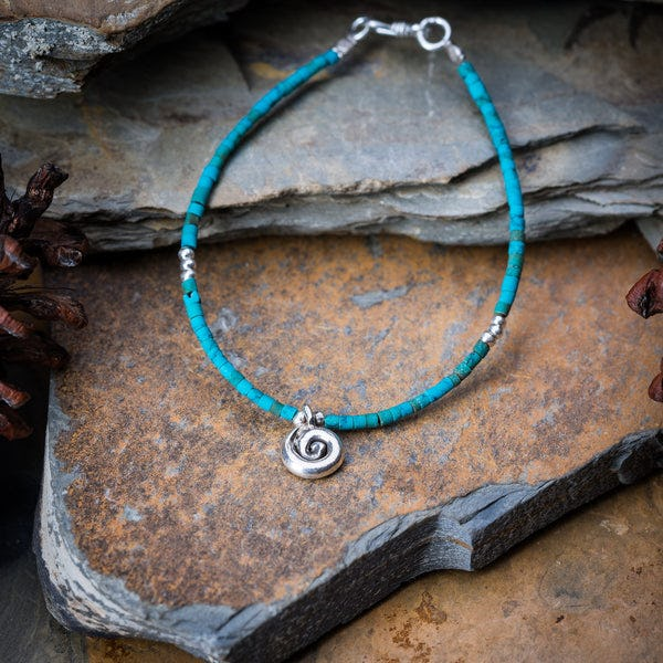 Hill Tribe Hand Made Turquoise and Silver Bead Bracelets with Swirl Charm