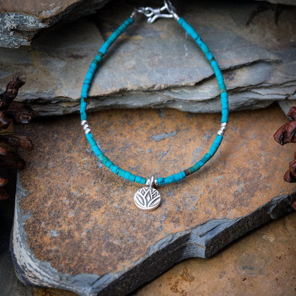 Hill Tribe Hand Made Turquoise and Silver Bead Bracelets with Lotus Charm