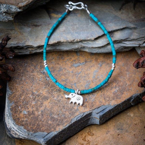 Hill Tribe Hand Made Turquoise and Silver Bead Bracelets with Elephant Charm