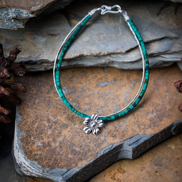 Hill Tribe Hand Made Malachite and Silver Bracelets with Flower Charm