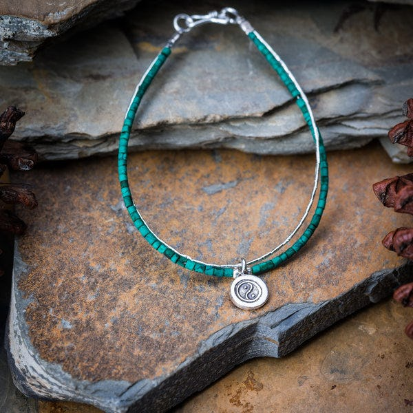 Hill Tribe Hand Made Malachite and Silver Bracelets with YinYang Charm