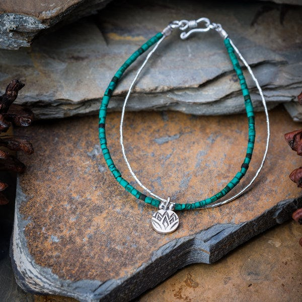 Hill Tribe Hand Made Malachite and Silver Bracelets with Lotus Charm