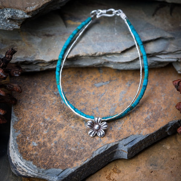Hill Tribe Hand Made Turquoise and Silver Bracelets with Flower Charm