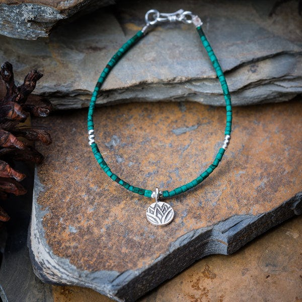 Hill Tribe Hand Made Malachite and Silver Bead Bracelets with Lotus Charm